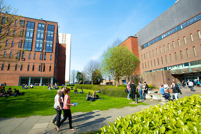 Students on campus - Lord Hope and Curran Buildings